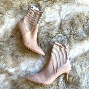 ZARA  CREAM COLORED THICK SOCK ANKLE BOOTS